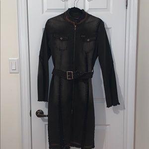 long dress/jean jacket/coat
